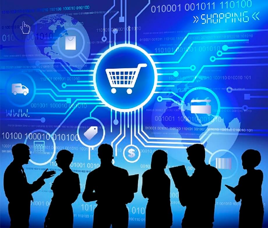 Concept of shopping and cloud computing.