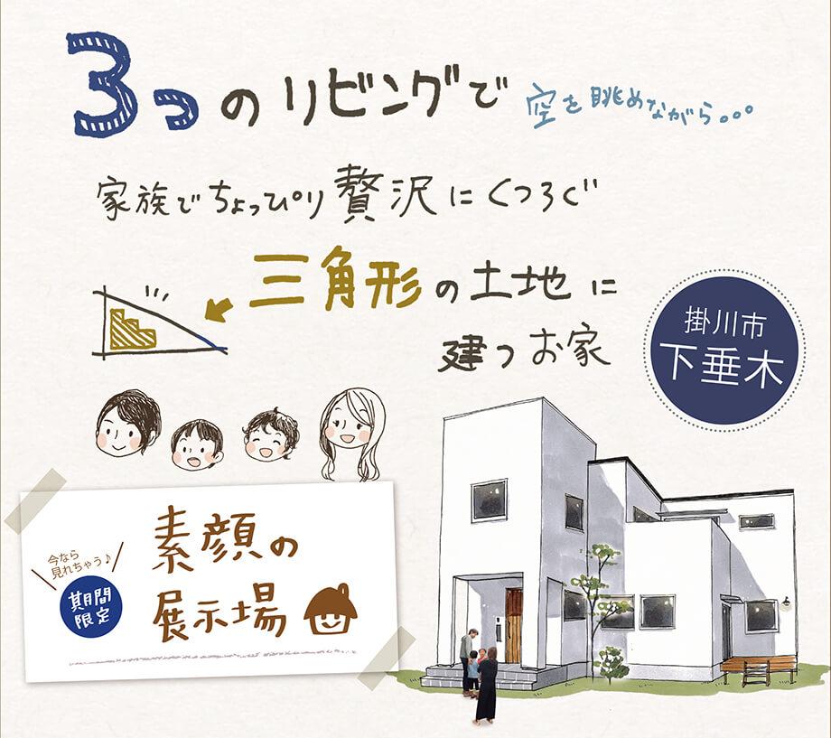 【ご予約で見学可能♪】素顔の展示場* 掛川市下垂木K様邸 「三角形の土地に建つ家🏠」