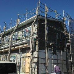 外壁の左官工事が 始まりました☆ 菊川市青葉台I様邸