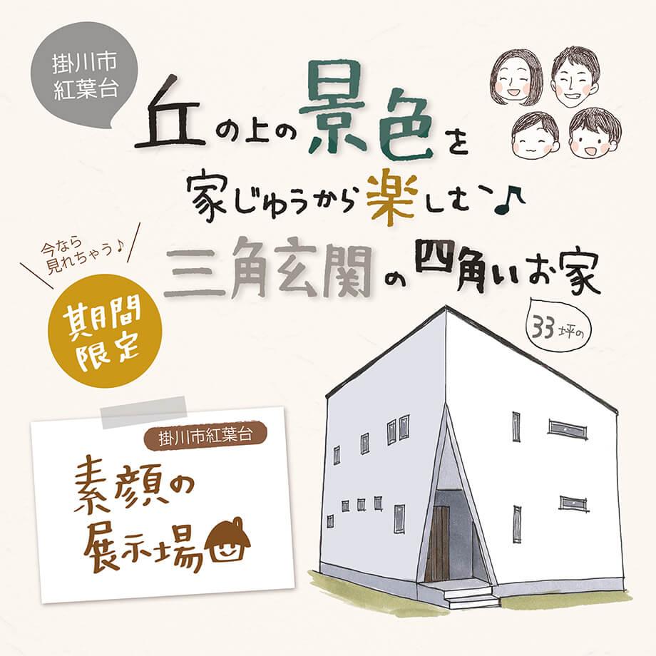 【ご予約制✧素顔の展示場】 掛川市紅葉台M様邸 「景色を楽しむ三角玄関のお家」