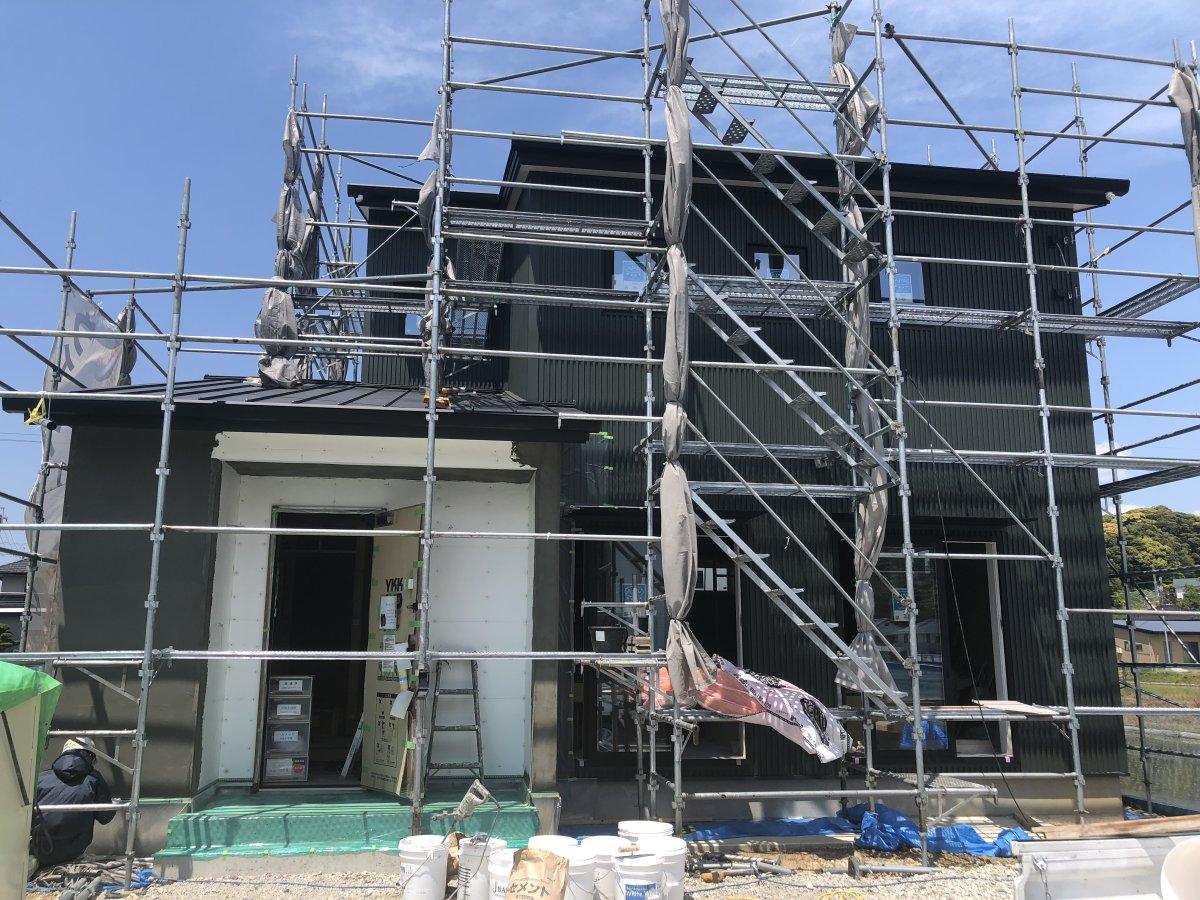 外壁の左官工事☆ 菊川市西方H様邸